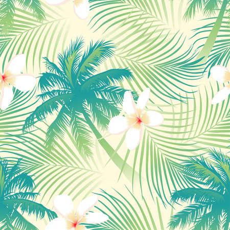 Illustration pour Tropical palm tree with flowers seamless pattern . - image libre de droit