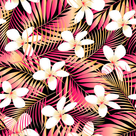 Illustration pour Tropical Plumeria with red and orange leaves seamless pattern . - image libre de droit