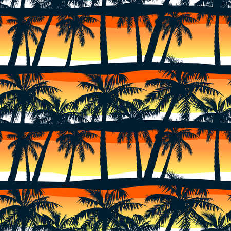 Illustration pour Tropical palms trees at sunset in a seamless pattern . - image libre de droit