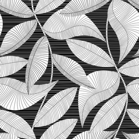 Ilustración de Black and white striped texture tropical seamless pattern. - Imagen libre de derechos
