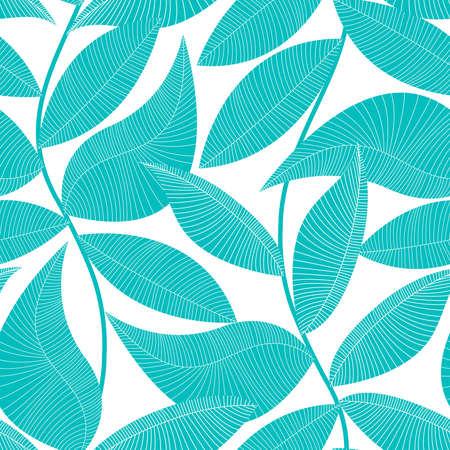 Illustration pour Turquoise and white tropical leaf seamless pattern . - image libre de droit