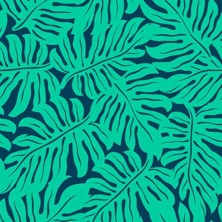 Illustration pour Monstera tropical leaf in a seamless pattern . - image libre de droit