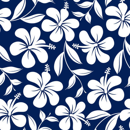 Illustration pour Blue and white tropical hibiscus flowers and leaves seamless pattern . - image libre de droit