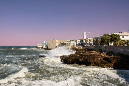 Foto de Shaky sea and rocks on the waterfront of Torre Canne - Imagen libre de derechos