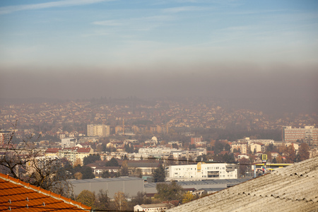 Photo for Smog and airpoluton air polution, Europe, Serbia, Valjevo city - Royalty Free Image