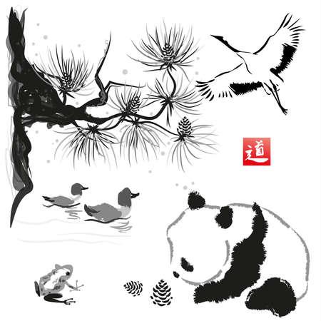 Ilustración de Card with cedar in the bird and panda bear. Hand-drawn with ink. Traditional Japanese painting. Vector illustration. Hieroglyph  way - Imagen libre de derechos
