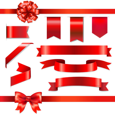 Illustration pour Red Bow With Ribbons Set, With Gradient Mesh, Vector Illustration - image libre de droit