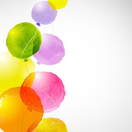 Illustration pour Watercolor Balloons, With Gradient Mesh, Vector Illustration - image libre de droit