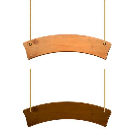 Illustration pour Wooden Sign Set, Vector Illustration - image libre de droit