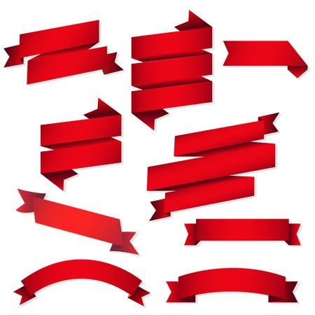 Illustration pour Red Web Ribbons Set, Vector Illustration - image libre de droit