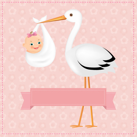 Illustration pour Poster Stork With Baby Girl With Gradient Mesh, Vector Illustration - image libre de droit