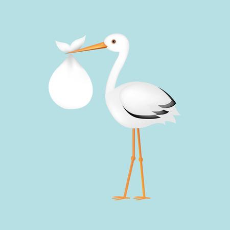 Ilustración de Stork With Baby With Gradient Mesh, Vector Illustration - Imagen libre de derechos
