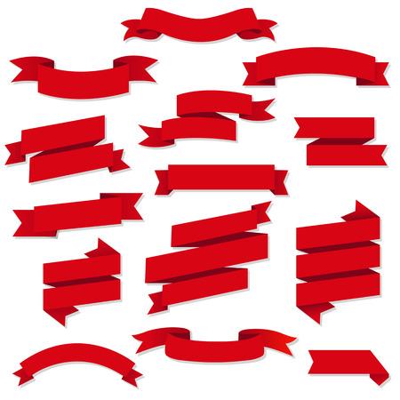 Illustration for Red Web Ribbons Set, Vector Illustration - Royalty Free Image