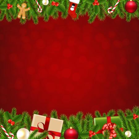 Ilustración de Xmas Christmas Borders With Gradient Mesh, Vector Illustration - Imagen libre de derechos