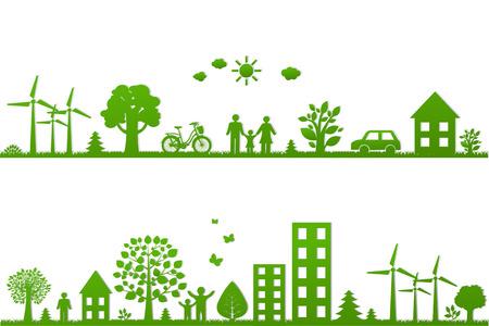 Ilustración de Eco Borders With Gradient Mesh, Vector Illustration - Imagen libre de derechos