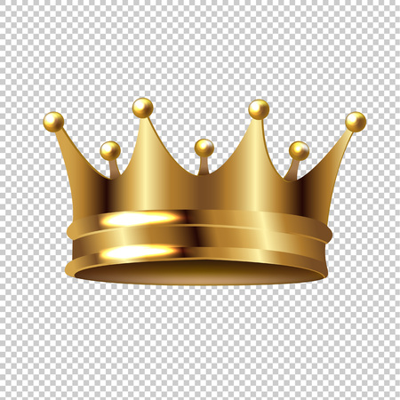 Illustration for Golden Crown Isolated Transparent Background With Gradient Mesh, Vector Illustration  - Royalty Free Image