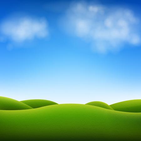 Illustration pour Blue Sky And Landscape With Gradient Mesh, Vector Illustration  - image libre de droit