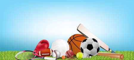 Recreation leisure sports equipment with a football basketball baseball soccer tennis ball volleyball boxing gloves cricket and badminton as a symbol of healthy on green background. illustration.