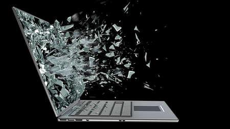 Foto de laptop with broken screen isolated on black background  - Imagen libre de derechos