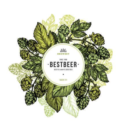 Illustration for Beer hop illustration. Engraved style illustration. Vintage beer hop design template. Vector illustration - Royalty Free Image
