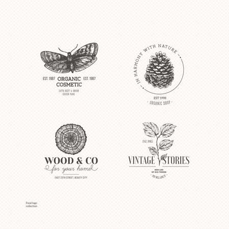 Illustration pour Vintage nature logo collection. Engraved logo set. Vector illustration - image libre de droit
