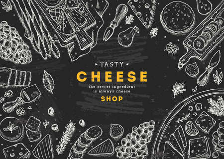 Ilustración de Cheese collection top view illustration. Antipasto table background. Engraved style illustration. Hero image. Vector illustration - Imagen libre de derechos
