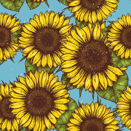 Ilustración de Sunflower vintage seamless pattern. Sunflower retro background. Vector illustration - Imagen libre de derechos