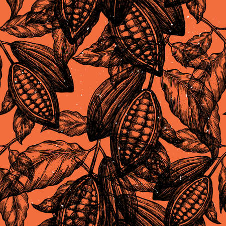 Illustration for Cocoa bean tree seamless pattern. Engraved style illustration. Chocolate cocoa beans. Vector illustration - Royalty Free Image