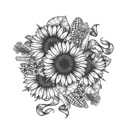 Ilustración de Sunflower bouquet. Sunflower and farm elements round composition. Vector illustration - Imagen libre de derechos