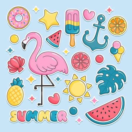 Illustration pour Summer beach elements stickers. Flamingo, ice cream, watermelon, sun, monstera, pineapple. Vector illustration - image libre de droit