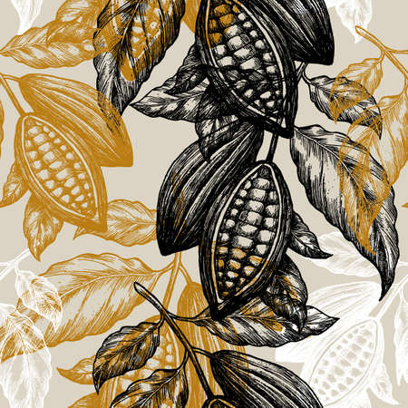 Illustration for Cocoa beans seamless pattern. Cocoa tree illustration. Engraved style illustration. Chocolate cocoa beans. Vector illustration - Royalty Free Image