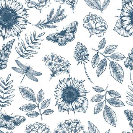 Ilustración de Floral seamless pattern. Linear sketchy style flower elements. Vintage fabric design. Vector illustration - Imagen libre de derechos