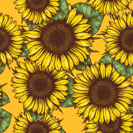 Ilustración de Sunflower seamless pattern. Sunflower fabric background. Vector illustration - Imagen libre de derechos