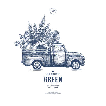 Illustration pour Farm fresh delivery design template. Classic vintage pickup truck with organic vegetables. Vector illustration - image libre de droit