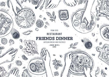 Illustration pour Family dinner top view illustration. Dinner table background. Engraved style illustration. Hero image. Vector illustration - image libre de droit