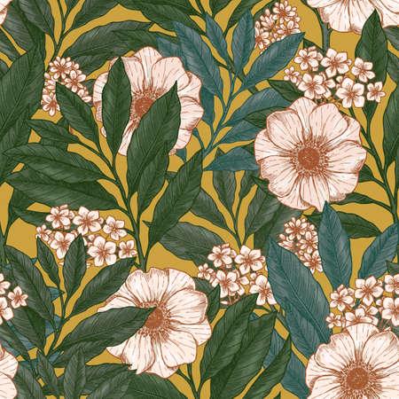Illustration pour Retro floral seamless pattern. Wild garden background. Vintage fabric design. Vector illustration - image libre de droit