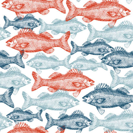 Illustration for Fish Engraved Seamless Pattern - Royalty Free Image
