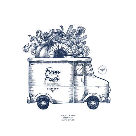 Ilustración de Farm fresh delivery design template. Classic food truck with organic vegetables. Vector illustration - Imagen libre de derechos