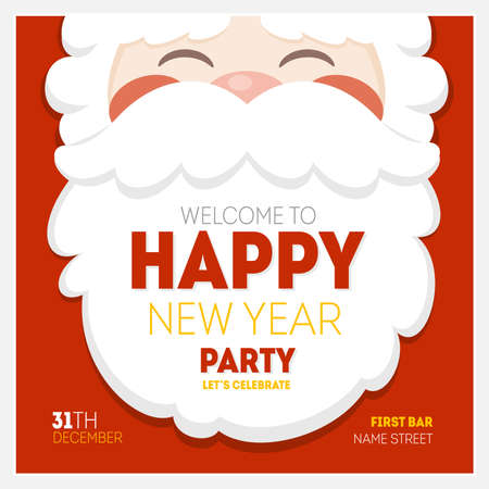Illustration pour Santa Christmas New Year Greeting Card - image libre de droit
