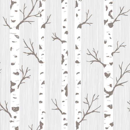 Ilustración de Birch trees seamless pattern. Spring forest background. Vector illustration - Imagen libre de derechos