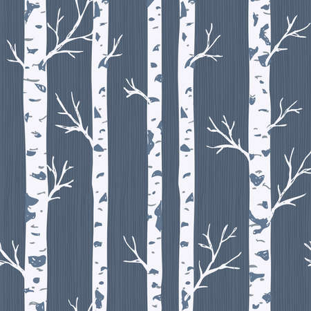 Ilustración de Birch trees seamless pattern. Spring forest background. Vector illustration - Imagen libre de derechos