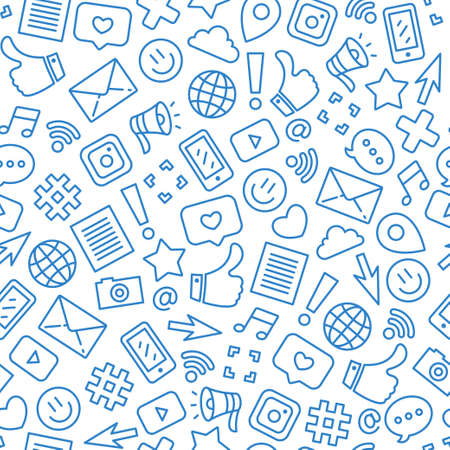 Illustration pour Social media minimalist seamless pattern. Internet messenger background. Vector illustration - image libre de droit