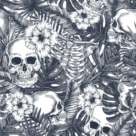 Illustration pour Halloween tropical vintage seamless pattern. Creppy jungle skull background. Floral anatomy - image libre de droit