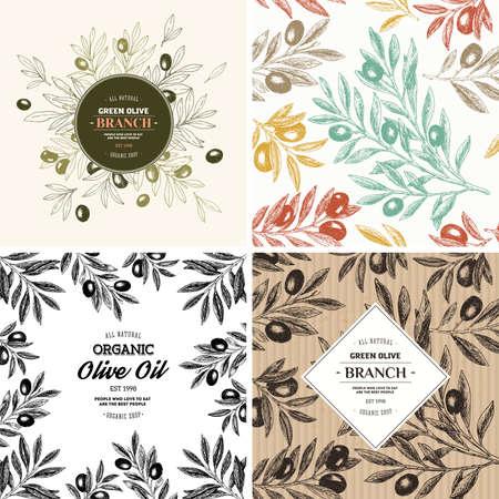 Illustration pour Olive design templates. Compositions, seamless pattern. Vector illustration - image libre de droit