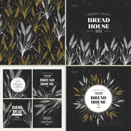 Illustration for Bread chalkboard design template collection. Banners, pattern, composition. Vector illustration - Royalty Free Image