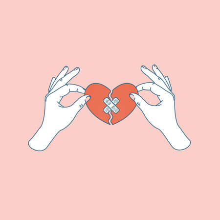 Illustration for Woman hand holding repaired broken heart. Fixed broken heart. Vector illustration - Royalty Free Image