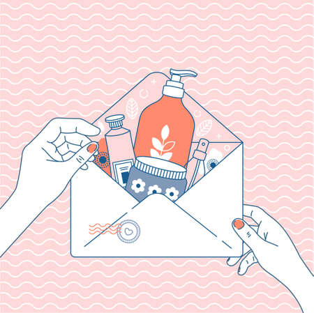 Illustration pour Cosmetics online shop order. Online store delivery. Package with different cosmetics. Envelope in woman hands. Vector illustration - image libre de droit