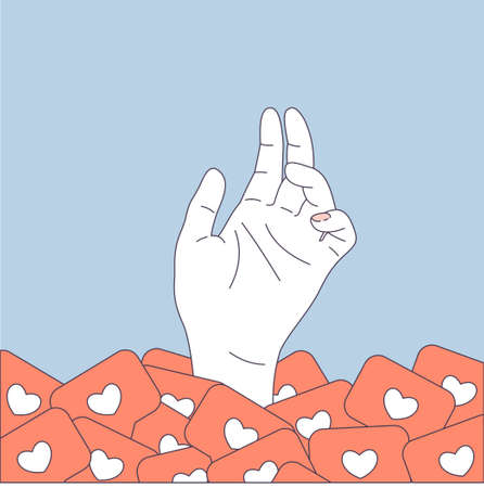 Illustrazione per Social media pile. User hand in a pile of likes. Vector illustration - Immagini Royalty Free