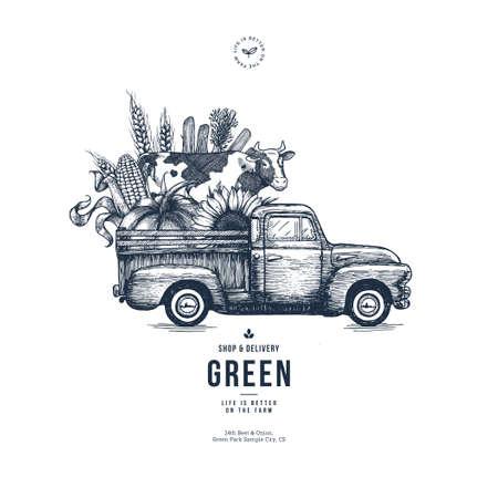 Ilustración de Farm fresh delivery design template. Classic vintage pickup truck with organic vegetables and a cow. Vector illustration - Imagen libre de derechos