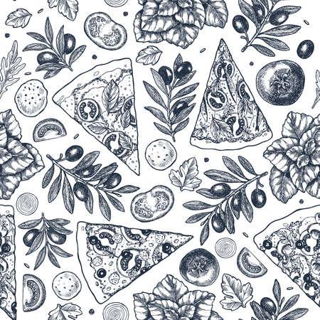 Ilustración de Tasty pizza ingredients background. Linear graphic. Italian pizza elements. Engraved seamless pattern. Vector illustration - Imagen libre de derechos
